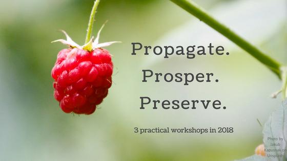 Propagate. Prosper. Preserve. 3 practical workshops in 2018