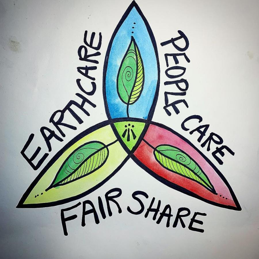 Earth care, people care, fair share - permaculture ethics. Illustration by druidsgardenart of instagram